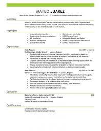 Resume Template Sample Resumes For Teachers Free Career Resume