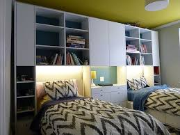 Custom Modular Wall Unit With Twin Beds Lighting And Desk Top by