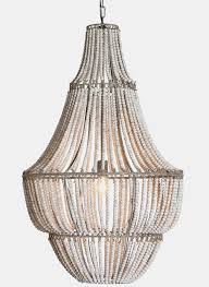white wash wood beaded chandelier