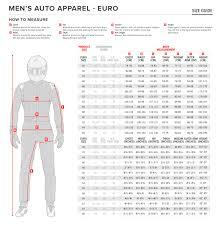 Sizing Chart Alpinestars Auto Racing Suits