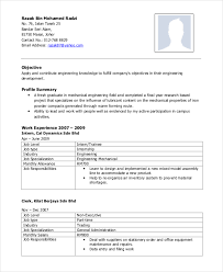 Mechanical Engineer Resume Classy 60 Mechanical Engineering Resume Templates PDF DOC Free
