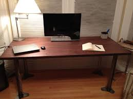 wooden desk ideas. Wonderful Wooden Furniture DIY Work Desk Design In Bedroom With Steel Leg And Table Lamp  Ideas  Wooden