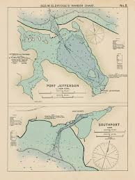 New York Harbor Nautical Chart Port Jefferson Ny Southport Ct Colored Nautical Chart