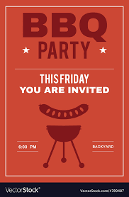 Barbeque Invitation Bbq Party Invite Poster Of Invitation Card With Vector Image