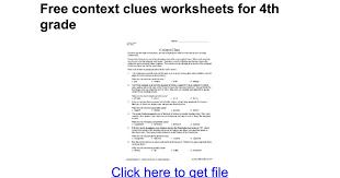 Free context clues worksheets for 4th grade - Google Docs