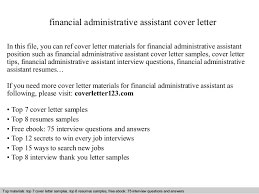 Financial Administrative Assistant Cover Letter Interest Financial