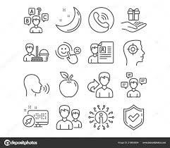 Set Cleaning Service Job Interview Human Sing Icons Quiz