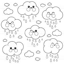 Schattig Regende Wolk Tekens Zwartwit Boekenpagina Kleurplaten