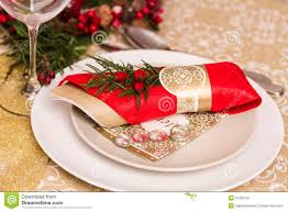 Christmas Table Setting Christmas Table Setting With Holiday Decorations Stock Photography