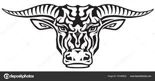 Taurus Býčí Hlava Pohled Zepředu Tribal Tattoo Styl Vektorové