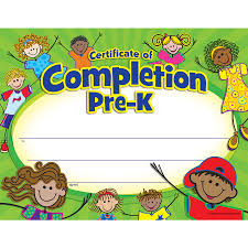 certificates of completion for kids pre k certificate of completion tcr4588 teacher created resources