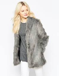 religion faux fur jacket wolf grey women top religion shoes london official website