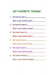English Worksheets My Favorite Things
