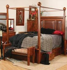 Pittsburg Bed with Canopy and Storage Rails from DutchCrafters Amish