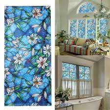 universal 3d window decor orchid flower stained glass window sticker diy home decor