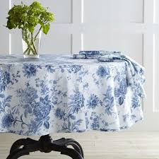 view in gallery classic blue and white round tablecloth from williams sonoma