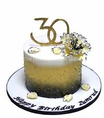 30th Birthday Cake In Gold Black And White