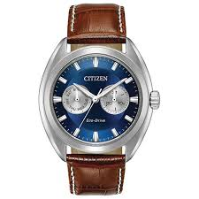 citizen eco drive dress brown leather strap watch display gallery item 1