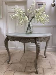 pretty grey painted pine round french style dining table display table