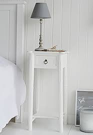 New England One Drawer White Bedside Table