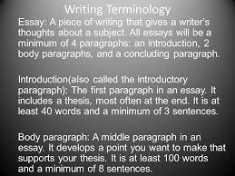 writing terminology essay a piece of writing that gives a  writing terminology essay a piece of writing that gives a writer s thoughts about a subject