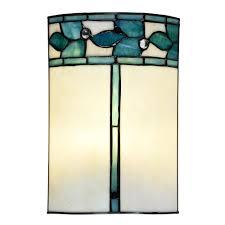 springdale lighting green leaves 60 watt tiffany bronze integrated led hand rolled art glass wall