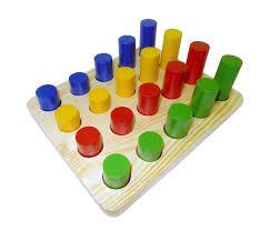 <b>Деревянная игрушка RNToys</b> Цилиндры втыкалки 4 ряда ...