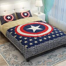 Captain America Shield Blue Little Stars Bedding Set Twin / Queen / King  Size Soft Pure Cotton Duvet Cover Pillowcase Bed Linens-in Bedding Sets  from Home ...