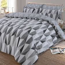 dreamscene billie duvet cover with pillowcase reversible geometric triangle bedding set black grey silver single