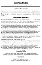 Example Of Resume For Administrative Assistant