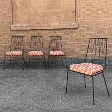 u s a 1960 s 1950 s fifties sixties retro midmod dining chairs side chairs set new upholstered upholstery geometric iron wrought iron black orange dine