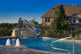 inground pools with waterslides.  With Yorkville IL Freeform Swimming Pool With Water Slide And Features  Traditionalpool For Inground Pools Waterslides S