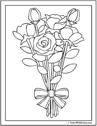 striped ribbon rose bouquet coloring printable striped ribbon bouquet rose vase coloring page roses in vase