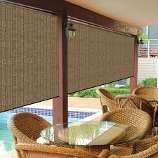Coolaroo Walnut Cordless Exterior Roller Shade 120 In W X 96 In Coolaroo Exterior Shades