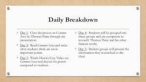 common sense by thomas paine 4 daily breakdown • day 1 class discussion on common sense by thomas paine