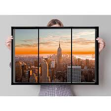 New York Poster Fenster Manhattan Skyline Window Poster Großformat