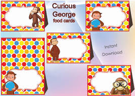 curious george food labels food tents cards tags curious george party printable curious george birthday instant