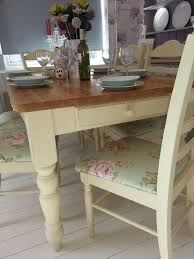 bespoke shabby chic farmhouse table with drawer and 6 chairs annie sloan
