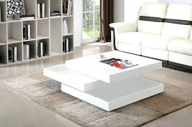 high gloss coffee table white rotating square black
