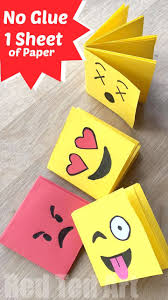 you can make this emoji notebook diy out of one sheet of paper ay and no glue making this a fabulous paper craft for kids love mini notebooks