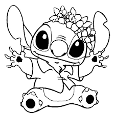 Small Picture Stitch in Hawaiian Outfit in Lilo Stitch Coloring Page