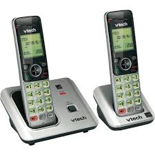 2 handset cordless phone system handsets speakerphone hands free wall mount home