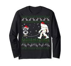 Christmas T Shirts Led Lights Miniature Schnauzer Walk Bigfoot Led Lights Ugly Christmas
