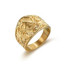 Size 7 15 Hot selling gold color <b>masonic</b> signet rings for men and ...