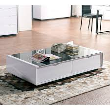 coffee table white gloss black glass top coffee table