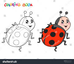 Coloring Book Page Ladybug Vector Illustration Stock Vector
