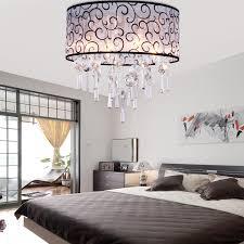 lightinthebox elegant transpa crystal chandelier with 4 lights drum flush mount modern ceiling light fixture for bedroom living room bulb not included