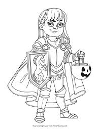 Free knight coloring pages to print for kids. Girl In Knight Costume Coloring Page Free Printable Pdf From Primarygames
