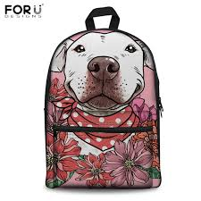 <b>FORUDESIGNS</b> Canvas School Backpacks Floral Pit Bull <b>3D Print</b> ...