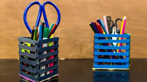 Easy & Quick DIY Popsicle Stick Pencil Holder  Pen Stand Homemade